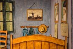 Athènes, Grèce 25 novembre 2017 année exposition Van Gogh Alive L'expérience Chambre à coucher dans Arles, 3D Photo stock