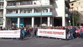 Athènes, Grèce - 15 novembre 2017 : protestation paisible près de la place de Sintagmatos clips vidéos
