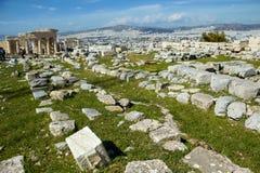 Athènes, Grèce, pierres antiques dans le site archéologique de l'Acropole Photographie stock