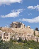 Athènes Grèce, temple antique de parthenon sur la colline d'Acropole Image stock