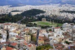 Athènes, Grèce - vue de ville de crépuscule Photos libres de droits