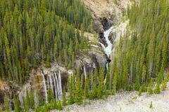 Athabasca河瀑布西部加拿大不列颠哥伦比亚省 免版税库存图片