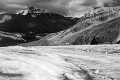 Athabasca bus route. Bus route on the Athabasca glacier in black and white Stock Image