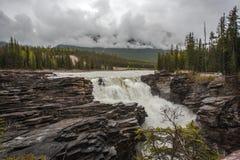 Athabasca fällt an einem nassen regnerischen Tag Lizenzfreie Stockbilder