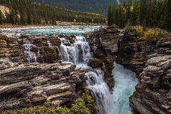 Athabasca fällt in Jaspis Stockbild