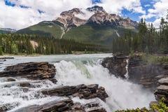 Athabasca faller med molnig himmel arkivfoton