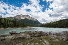 Athabasca Falls in the Canadian Rockies along the scenic Icefields Parkway, between Banff National Park and Jasper National Park stock images