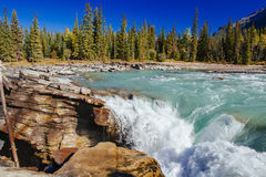 Athabasca Falls, Icefield Parkway, Jasper National Park. Athabasca Falls is a waterfall in Jasper National Park on the upper Athabasca River, approximately 30 km Stock Photo