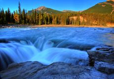 Athabasca Falls in Jasper. National Park Royalty Free Stock Images