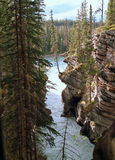 Athabasca Falls, Jasper, Alberta, Canada. Exit of the Athabasca River from this gorge below the famous falls. Icefields Parkway, Jasper National Park, Alberta stock image