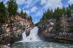Athabasca Falls - Jasper National Park. Jasper National Park is the largest national park in the Canadian Rockies, spanning 10,878 km2 (4,200 sq mi). It is Stock Images