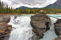 The Athabasca Falls in the Rocky Mountains Stock Image