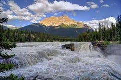 Athabasca Falls at sunset Stock Photo