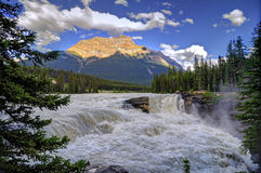 Athabasca Falls at sunset. Jasper National park, Alberta Canada royalty free stock photos