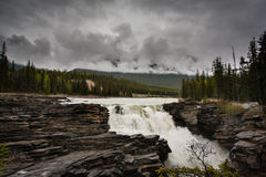 Athabasca falls on a wet rainy day. The majestic Athabasca falls on a wet rainy day (Jasper Alberta Canada Royalty Free Stock Photography