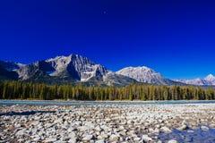 Athabasca flod, Icefield gångallé, Jasper National Park Royaltyfri Foto