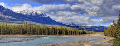 Athabasca flod, Jasper National Park, Alberta, Kanada Arkivbilder