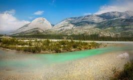 Athabasca flod, Kanada Arkivfoto