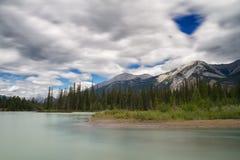Athabasca flod nära jaspisen Arkivbilder