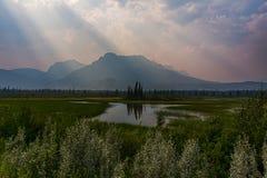 Athabasca flod- och solstrålar Royaltyfria Bilder
