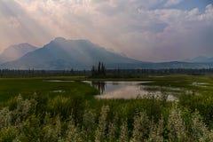 Athabasca flod- och solstrålar Royaltyfria Foton