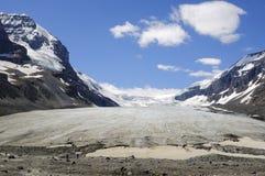 Athabasca glaciär Columbia Icefields Arkivbild