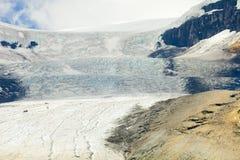 Athabasca glaciär med moln västra Kanada Arkivbilder