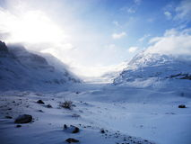 Athabasca glacier. In Banff National Park, winter landscape stock photo