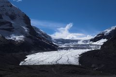 Athabasca Glacier at Jasper. Has melted 70% of total volume since 100 years ago because of the increasing of global warming Royalty Free Stock Photography
