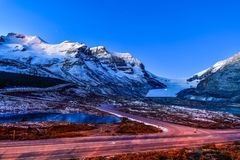 Athabasca Glacier in Jasper National Park ,Canada. Landscape view of Athabasca Glacier at Columbia Icefield Parkway in Jasper National Park ,Canada royalty free stock photography