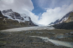 Athabasca Glacier melting, Columbia icefield in Jasper NP Royalty Free Stock Image
