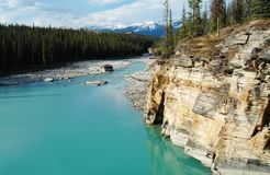 Athabasca river and bank stock image