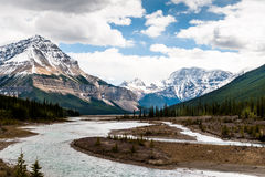 Athabasca River close view with Columbia Icefield royalty free stock photos