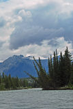 Athabasca River,Jasper, Canada. A view of the Athabasca river in Jasper National Park Royalty Free Stock Photo