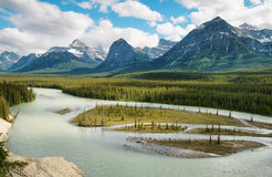 Athabasca River. In Jasper National Park stock photos