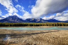 Athabasca River with low water level. Jasper National Park, Alberta, Canada Royalty Free Stock Photography