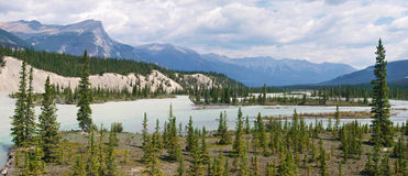 Athabasca River panorama in Alberta, Canada Stock Photos
