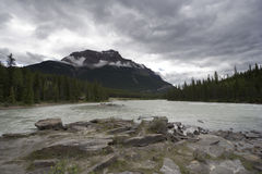Athabasca river with pyramid mountain Royalty Free Stock Photography