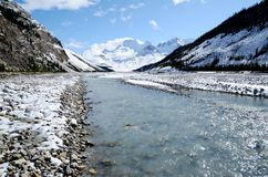 Athabasca River of snow,Canadian Rockies,Canada Royalty Free Stock Images