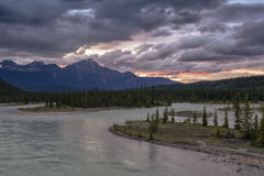Athabasca River sunset over Pyramid Mountain Stock Photo