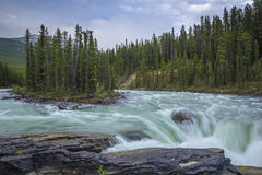 Athabasca River at Sunwapta Falls Stock Photos