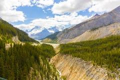 athabasca rzeki i lodowa widoku Columbia icefield Obraz Royalty Free