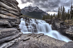 Athabasca Waterfall Alberta Canada. River flow and blurred water royalty free stock photo
