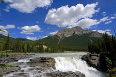 Athabasca waterfall. In summer day stock photos