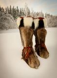 Athabascan Eskimo Muk Luks. Traditional Athabascan Eskimo muk luk boots used for extreme cold in the arctic royalty free stock photography