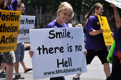 Atheïst in een Parade Royalty-vrije Stock Afbeeldingen