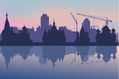 Athedrals en paisaje de la ciudad Imagen de archivo libre de regalías