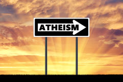 atheism El ateísmo de la señal de tráfico imagen de archivo libre de regalías