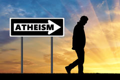 Atheist man and arrow sign atheism Royalty Free Stock Images