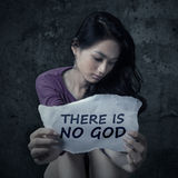 Atheist teen girl holding a paper Royalty Free Stock Photography
